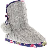 Isaac Mizrahi Women's Colbie Sweater Boot Cable Knit Slipper Bootie with Furry Pom Poms and Floral Trim US