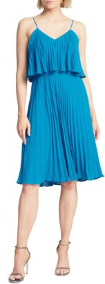 Halston Pleated Flounce Popover Dress