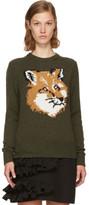 MAISON KITSUNÉ Khaki Lurex Fox Head Sweater