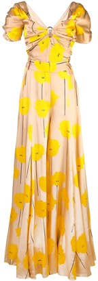 Carolina Herrera Flower Print Maxi Dress
