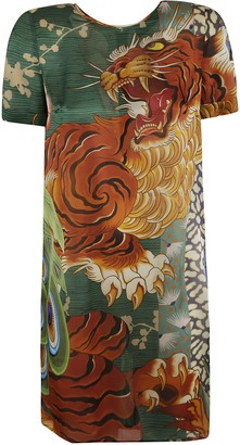 DSQUARED2 Tiger Front Print Mid-length Dress