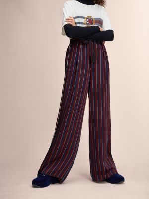 Tommy Hilfiger Self-Tie Belt Vertical Stripe Trousers