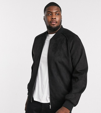 ASOS DESIGN Plus faux suede bomber jacket in black