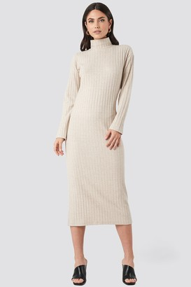 NA-KD High Neck Ribbed Ankle Length Knitted Dress Beige