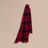 Burberry Oversize Tartan Wool Cashmere Fringe Scarf
