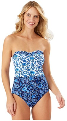Tommy Bahama Woodblock Ruffled Bandeau One-Piece (Mare Navy) Women's Swimsuits One Piece