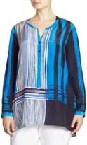 NIC+ZOE Plus Plus Size Blue Blocks Silk-Blend Blouse