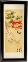 Oriental Furniture Simple Beautiful Unique Housewarming Gift Idea, 19-Inch Japanese Style Sumi-E Butterflies Ink and Watercolor Framed Wall Art