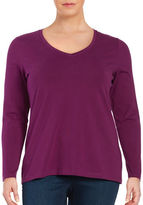 Lord & Taylor Plus Plus Long Sleeve V-Neck Top
