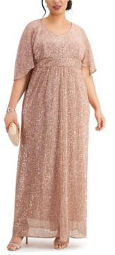 Night Way Nightway Plus Size Sequin Flowy Gown
