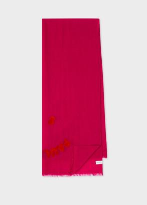 Paul Smith Women's Fuchsia 'PS Smile' Wool Scarf