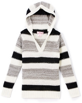 Pink Angel Black & White Metallic Stripe Hoodie - Toddler & Girls