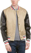 Moncler Leather-Sleeve Down Bomber Jacket