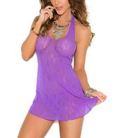Purple Halter Lace Chemise - Plus Too