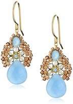 """Miguel Ases Blue Jade and Smoky Created Quartz Drop Earrings, 1.4"""""""