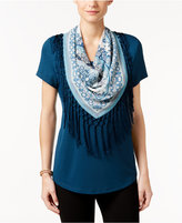 Style&Co. Style & Co. T-Shirt with Fringe Scarf, Only at Macy's