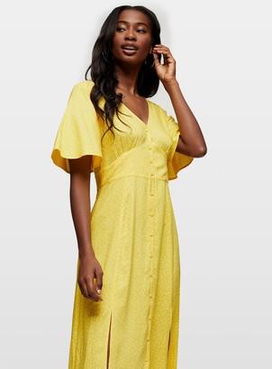 Miss Selfridge Ochre Sophie Spot Print Button Through Maxi Dress