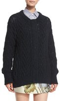 ADAM by Adam Lippes Marled Cable-Knit Long-Sleeve Cardigan, Navy
