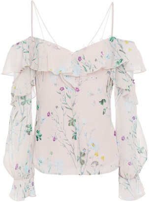Self-Portrait Cold-shoulder Ruffled Floral-print Chiffon Top