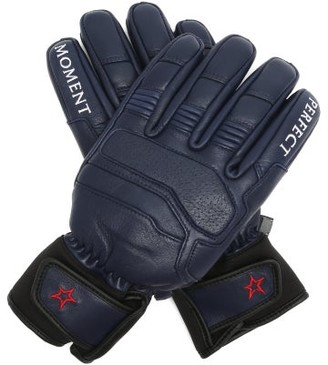 Perfect Moment Logo-embroidered Leather Ski Gloves - Navy