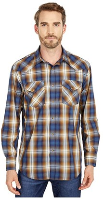 Pendleton Long Sleeve Frontier (Blue/Navy/Brown Plain) Men's Clothing