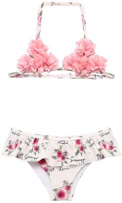 MonnaLisa Flowers Print Bikini W/ Applique