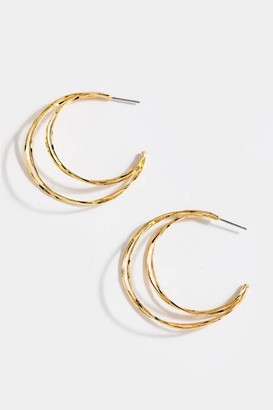 francesca's Alix Knife Cut Layered Hoops - Gold