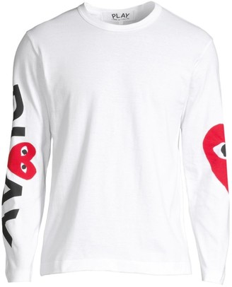 Comme des Garcons Play Logo Long-Sleeve Cotton Tee