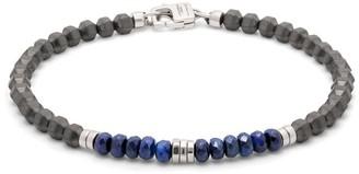 Tateossian Silver, Hematite And Sapphire Beaded Bracelet
