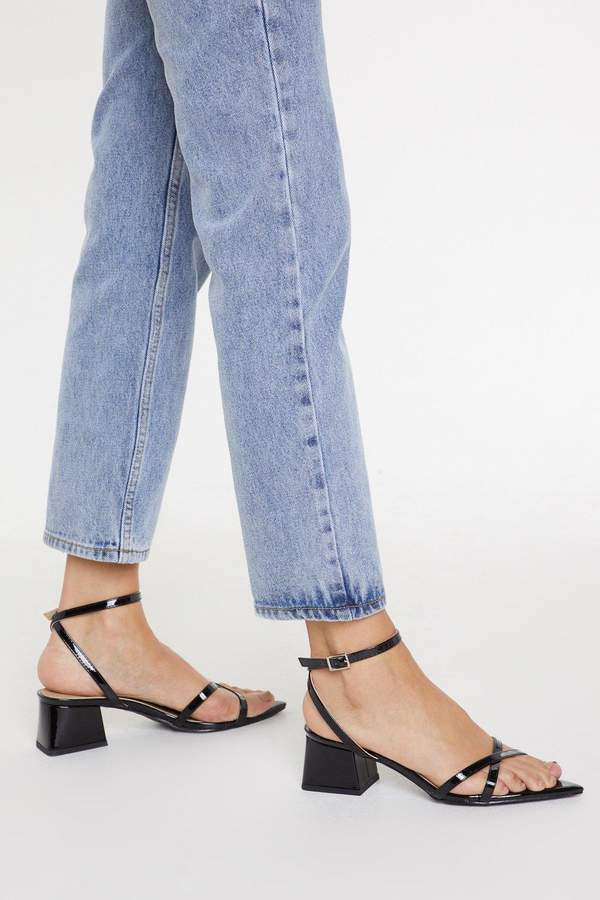 A Low Point Blow Heel Patent Sandals