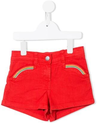 Stella Mccartney Kids Rainbow Embroidered Denim Shorts