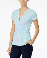 Charter Club Printed Faux-Wrap Top, Only at Macy's