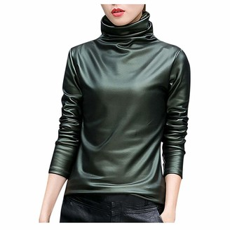 Jiegorge Blouse Long Sleeve Women Women Basic Shirts Faux Leather Solid Turtleneck Long Sleeve Blouse Tops Casual