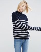 Asos 100% Cashmere Funnel Neck Sweater In Stripe