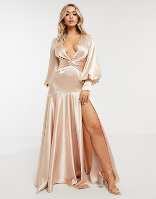 Yaura plunge balloon sleeve maxi dress with thigh split in champagne gold