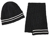 Class Club Cable Knit Stripe Hat and Scarf Set