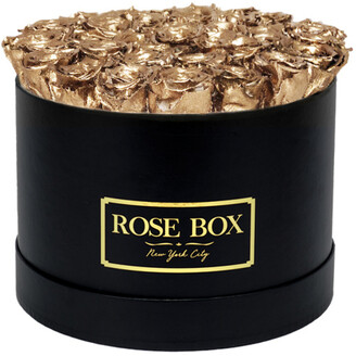 Rose Box NYC Large Black Box With Gold Roses