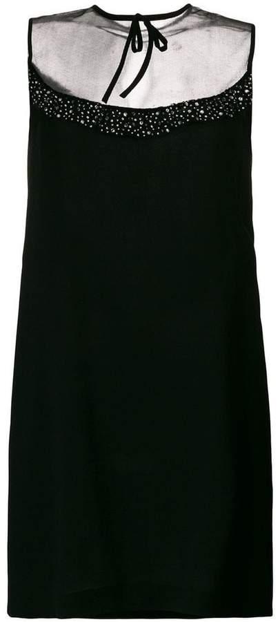Miu Miu rhinestone embellishment shift dress
