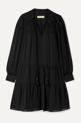 MICHAEL Michael Kors Tasseled Tiered Crepon Mini Dress - Black