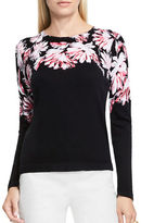 Vince Camuto Petite Floral Printed Crewneck Cotton Sweater