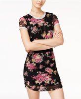 Ultra Flirt Juniors' Animal-Print Mesh T-Shirt Dress