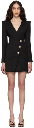 Balmain Black Wool Cache-Coeur Short Dress