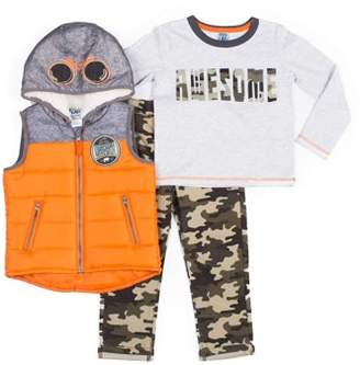 Little Lad Baby Toddler Boy Costume Hoodie Puffer Vest,Graphic Long Sleeve T-shirt & Camo Jogger, 3pc Outfit Set