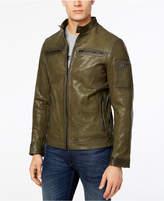 Michael Kors Men's Garment-Washed Leather Racer Jacket