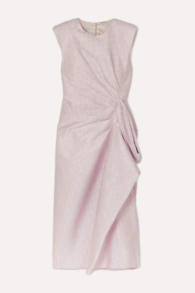 Dries Van Noten Draped Ruffled Lamé Midi Dress - Baby pink