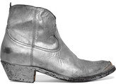 Golden Goose Deluxe Brand Young Metallic Distressed Leather Ankle Boots - Silver