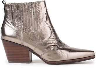 Sam Edelman Winona Crinkled Metallic Leather Ankle Boots