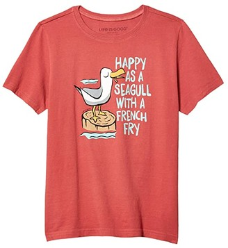 Life is Good Happy As A Seagull Crusher Tee (Little Kids/Big Kids) (Faded Rose) Boy's Clothing