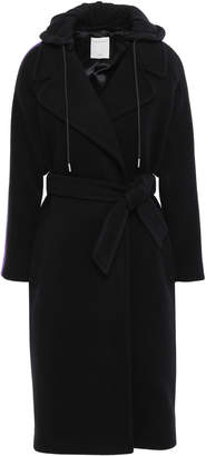 Sandro Belted Wool-blend Felt And Jersey Hooded Coat