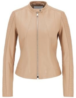 HUGO BOSS Regular Fit Nappa Leather Jacket With Stand Collar - Beige